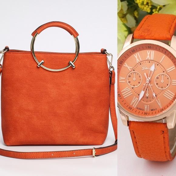 PAVA LEATHER Bags   Free Quartz Watch W New Fashion Handbag   Poshmark 558a9ba857